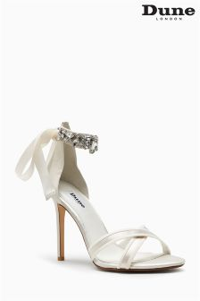 Dune Morgan Ivory Satin Diamanté Embellished Strap Sandal