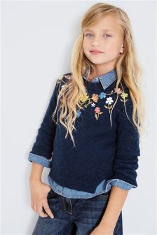 Embroidered Floral Sweater (3-16yrs)