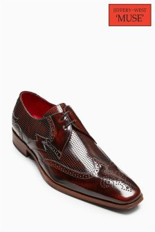 Jeffery West Brown Hi Shine Perforated Detail Brogue