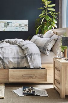 Brushed Cotton Woven Grey Check Bed Set