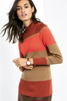 Colourblock Funnel Neck Sweater