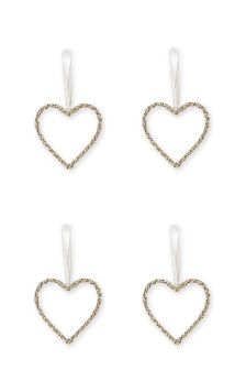 Set Of 4 Gold Effect Diamanté Heart Decorations