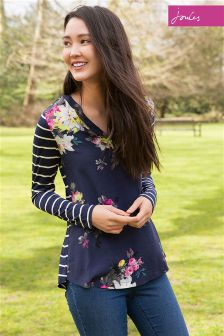 Joules Beatrice French Navy Floral V-Neck Jersey/Woven Mix Top