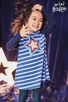 Boden Klein Blue Star Sparkly Jersey Dress