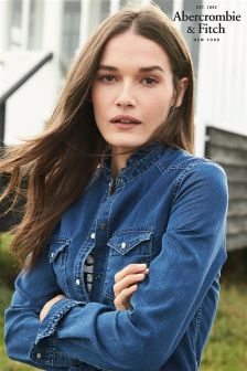 Abercrombie & Fitch Ruffle Denim Shirt