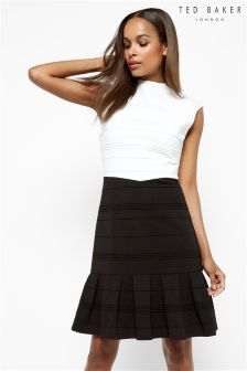 Ted Baker Black Flared Skirt Detail Dress