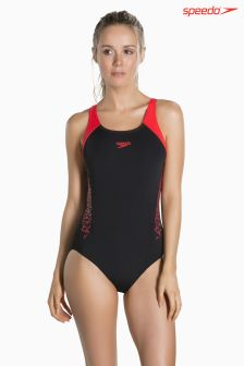 Speedo® Black/Red Muscleback Swimsuit