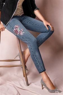 Embroidered Flower Jeans