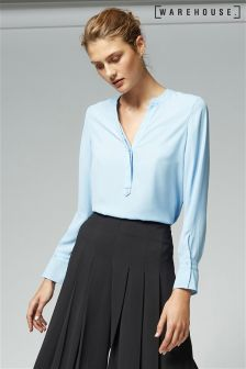 Warehouse Blue Tab Placket Blouse