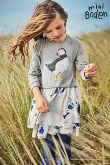 Boden Grey Marl Winter Birds Twirly Jersey Dress