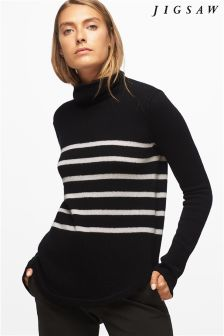 Jigsaw Black Winter Clay Stripe Cashmere