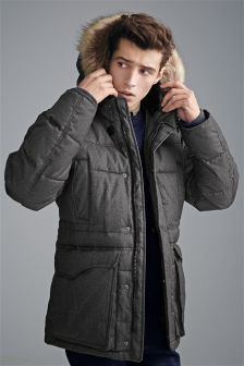 Wadded Faux Fur Hooded Parka