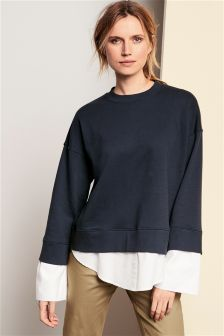 Sweat Top With Mock Shirt