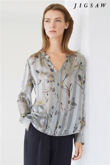 Jigsaw Green Floating Aster Silk Blouse