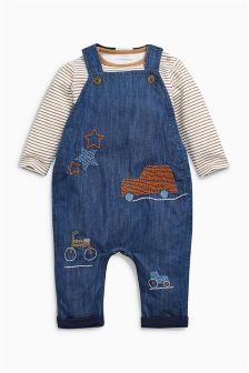 Embellished Car Dungarees (0mths-2yrs)