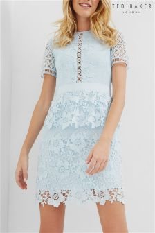 Ted Baker Baby Blue Dixa Layered Lace Skater Dress