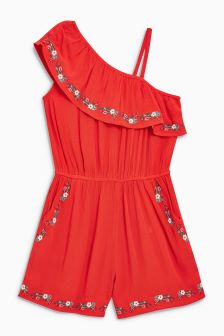 Embroidered One Shoulder Playsuit (3-16yrs)
