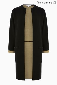 Warehouse Black/Camel Colourblock Cardi Coat