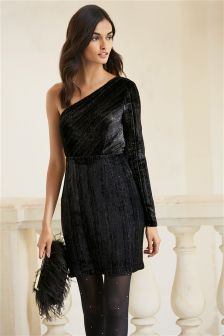 One Shoulder Stripe Velvet Dress