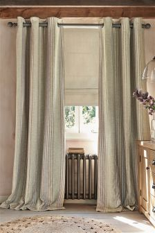 Textured Linen Look Woven Stripe Eyelet Curtains