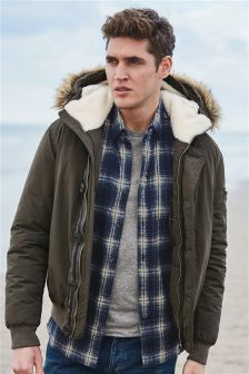 Short Faux Fur Trim Parka