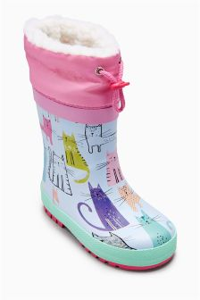 Toggle Print Wellies (Younger Girls)
