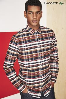 Lacoste® Brown, Red And Navy Check Shirt