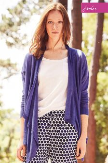 Joules Fran Pool Blue Short Waterfall Cardigan