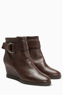 Leather Strap Wedge Boots