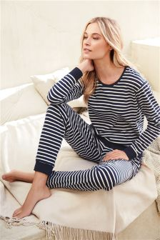 Navy Jersey Stripe Pyjamas