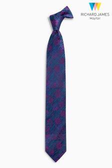 Richard James Mayfair Teal Stripe Flower Silk Tie