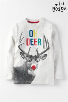 Boden Oatmeal Oh Deer Christmas Jumper