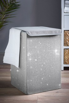 Charcoal Glitter Laundry Hamper