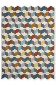 Multicolour Cubic Rug