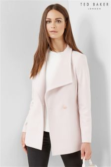 Ted Baker Nude Pink Short Wrap Car Popper Coat
