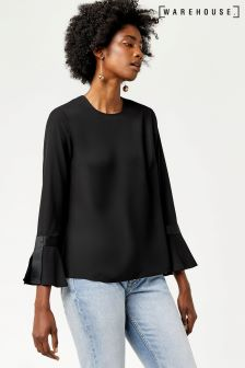 Warehouse Black Grosgrain Flared Cuff Top