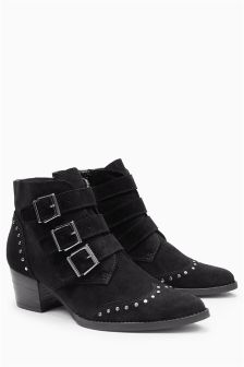 Suede Studded Strap Boots
