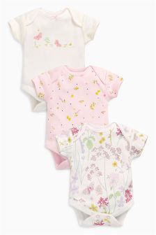 Short Sleeve Floral Bodysuits Three Pack (0mths-2yrs)