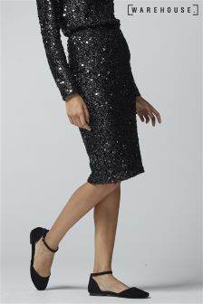 Warehouse Black Sequin Skirt
