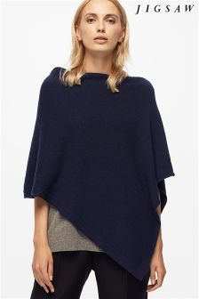 Jigsaw Navy Ribbed Edge Poncho
