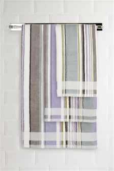 Teal And Lilac Striped Towel