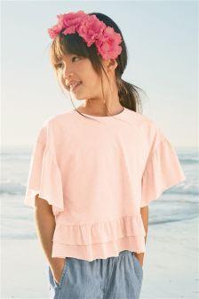 Ruffle Hem Short Sleeve T-Shirt (3-16yrs)