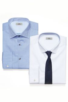 Striped And Plain Shirts And Tie Set
