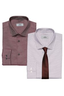 Printed And Plain Regular Fit Shirts Two Pack With Tie
