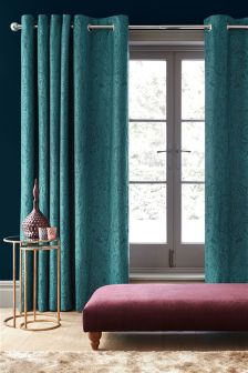 Teal Damask Jacquard Curtains