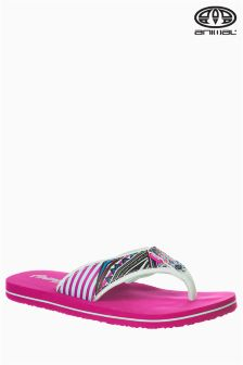 Animal Swish Upper All-Over-Print Pink Flip Flop