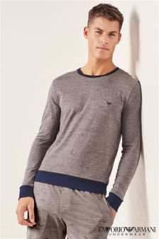 Armani Grey Long Sleeve Crew Neck T-Shirt
