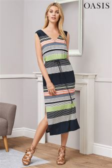Oasis Sashiko Stripe Midi Dress
