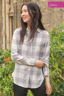 Joules Laurel Grey Check Long Line Shirt