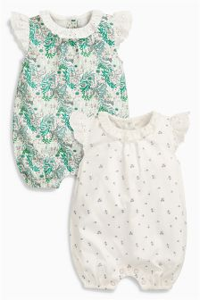 Printed Rompers Two Pack (0mths-2yrs)